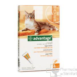 ADVANTAGE SOLUTION ANTI PUCES 40MG CHAT < 4 KG  4 X0,4 ML