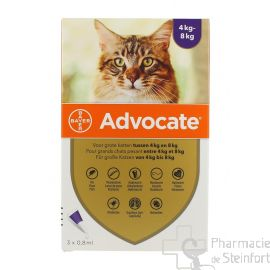 ADVOCATE SPOT ON CHAT Grand Chat 4-8 KG 3x 0,8 ML