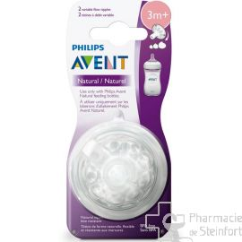 AVENT 2 TETINES NATURAL 2.0 VARIABLE  Anti-colic 3 POSITIONS 3 Mois