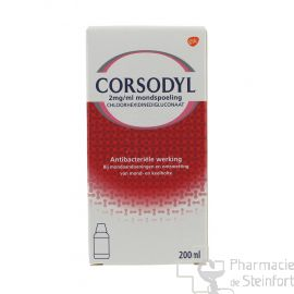 CORSODYL SOLUTION 200MG/100 ML BAIN DE BOUCHE 200 ML