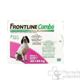 FRONTLINE COMBO SPOT ON CHIEN L 20-40KG 3PIPETTES