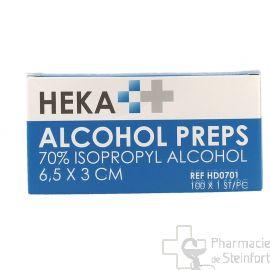 ALCOHOL PREPS Lingettes alcooliques désinfectantes r 100  Pieces  (HEKA)