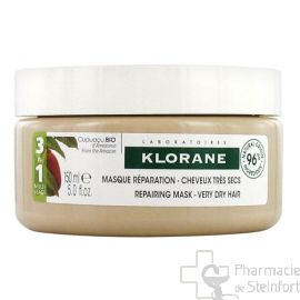 KLORANE  MASQUE Cheveux Secs REPARATION  CUPUACU 3 en 1 BIO 150 ML