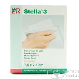 STELLA COMPRESSE DE GAZE STERILE 3/1  7,5X7,5 CM  20  PIECES