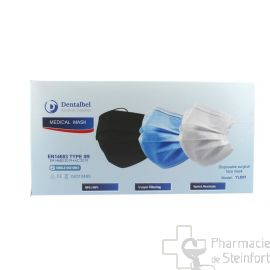 MASQUES CHIRURGICAUX CERTIFIES TYPE II NOIR protection 3 couches 50 masques