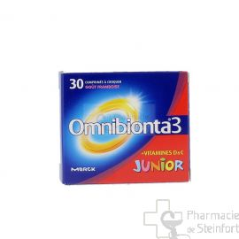OMNIBIONTA 3 JUNIOR 30 COMPRIMES GOUT FRAMBOISE CROQUER