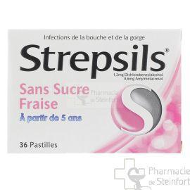 STREPSILS SANS SUCRE FRAISE 36 PASTILLES