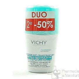 VICHY DEO BILLE ANTI-TRANSPIRANT 48H + ANTI-TRACES ANTI-TRACES JAUNE ET BLANCHES, SANS EFFET CARTON DUO 2x 50 ML