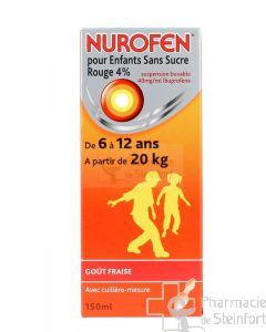 NUROFEN ENFANT SANS SUCRE ROUGE 4% SIROP 150 ML