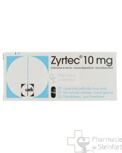 ZYRTEC 10 MG 20 COMPRIMES