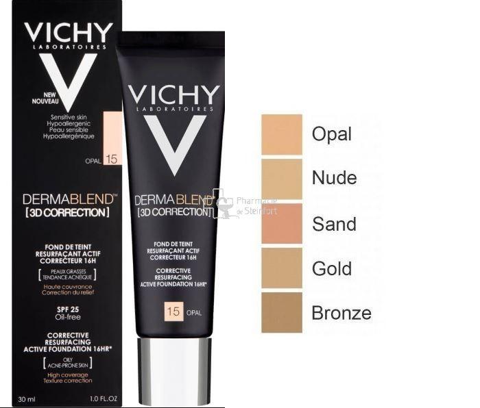 Vichy Fond De Teint Dermablend Correction 3d Spf25 15 Opal 30ml Fonds De Teint Fluides Crèmes Soins Pharmacie De Steinfort